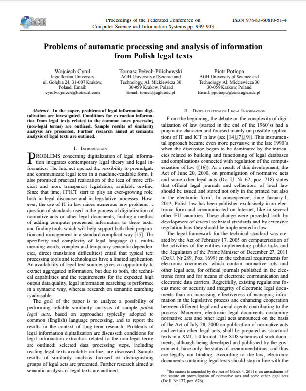 Problems of automatic processing and analysis of information from Polish legal texts
